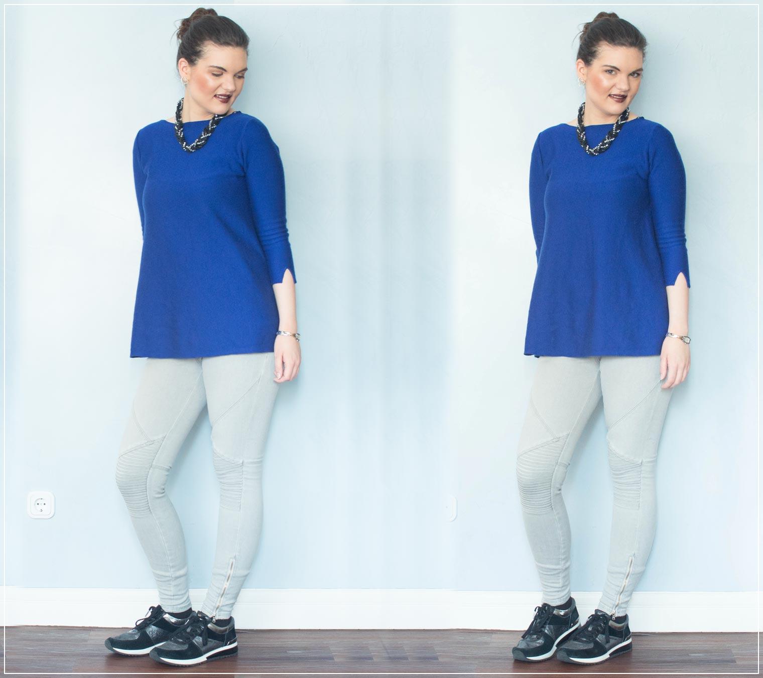 Outfit aus Bikerjeans mit Pullover und Statementkette