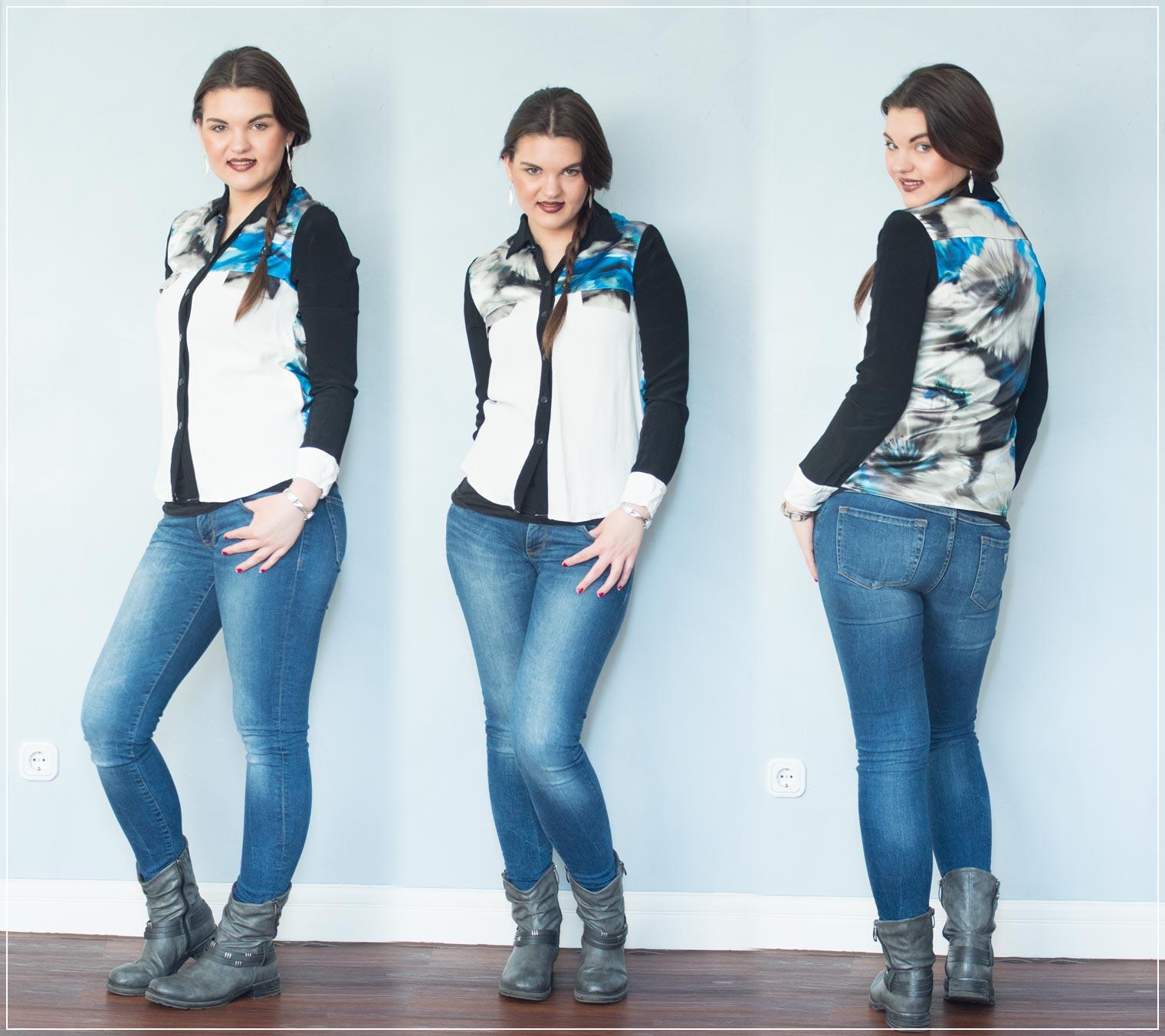 Outfit aus Jeans und Bluse
