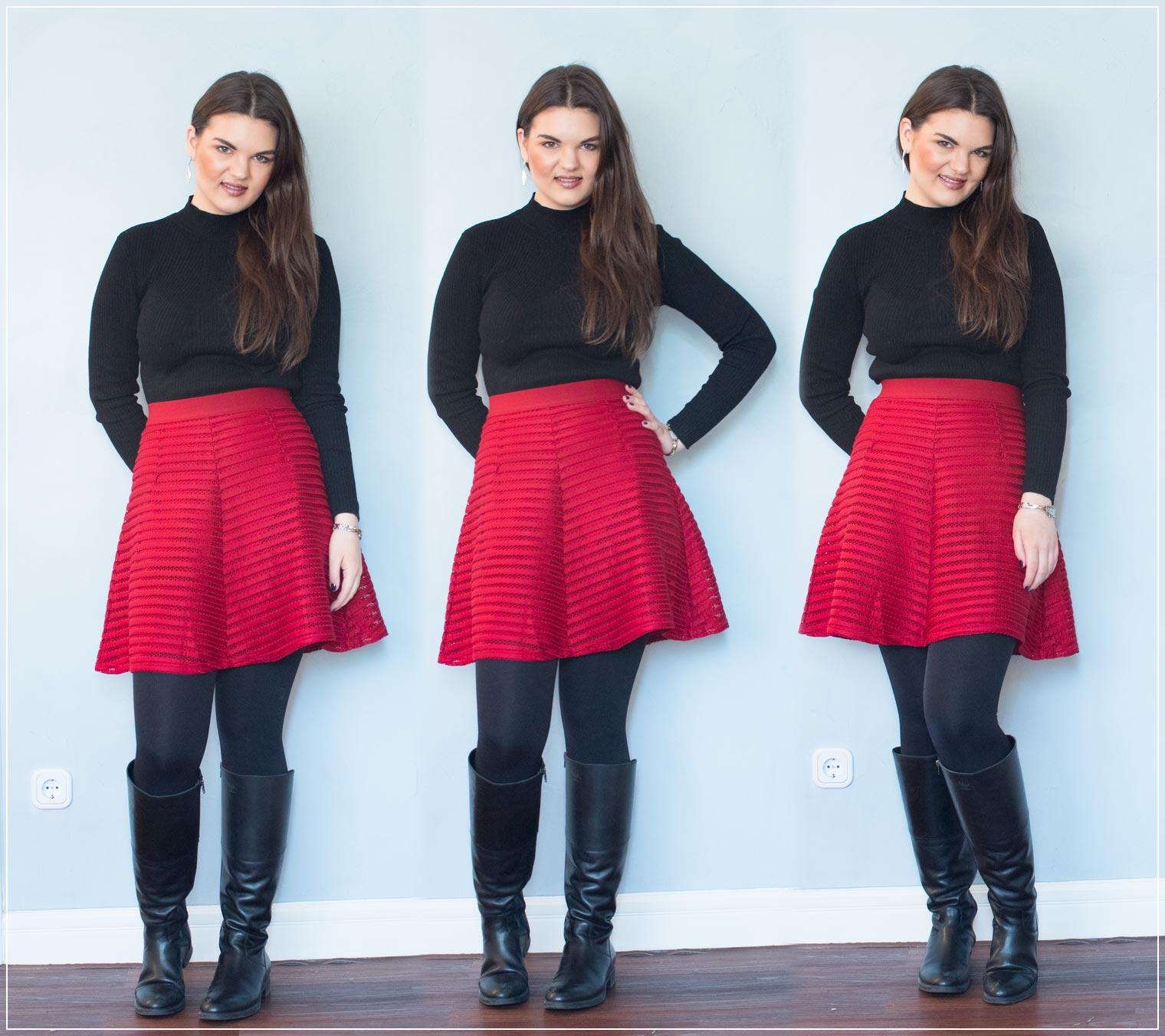 Outfit aus Rock und Pullover