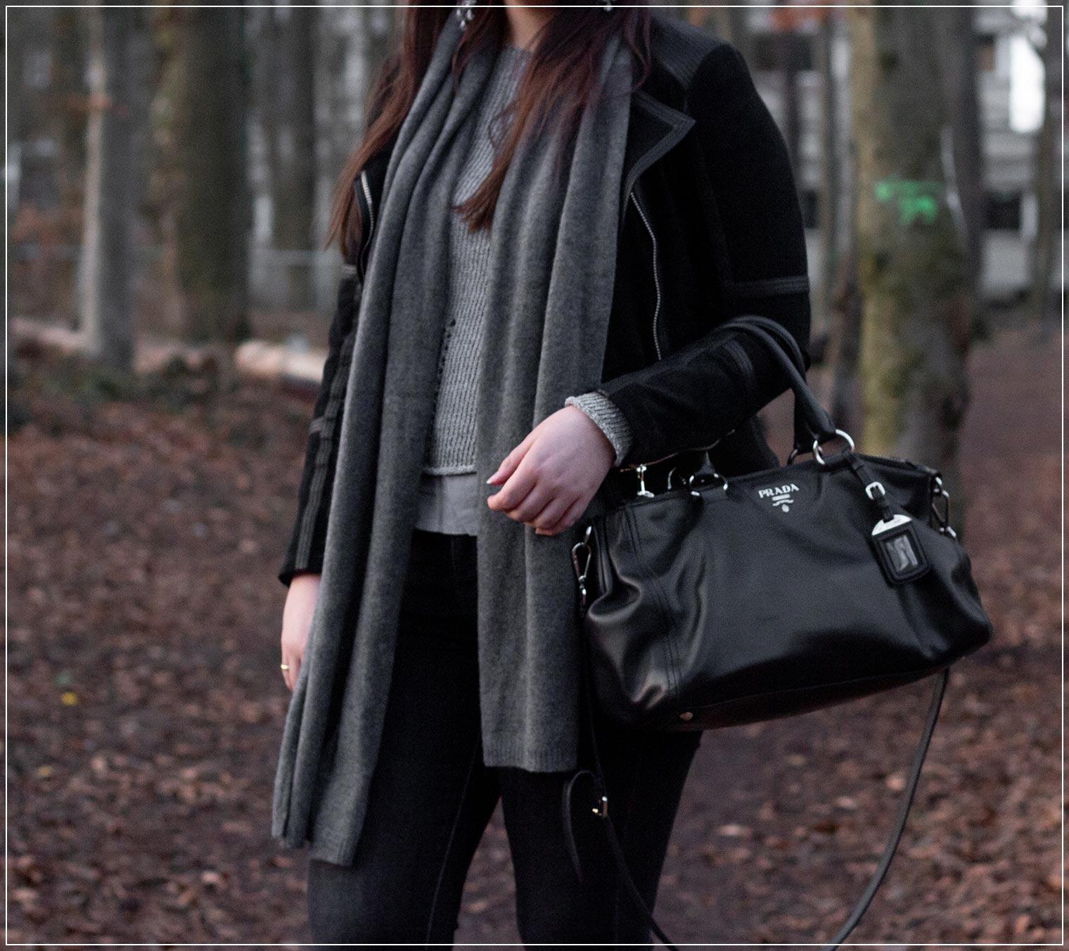 Fruehlingslook mit Ultimate Grey und schwarz