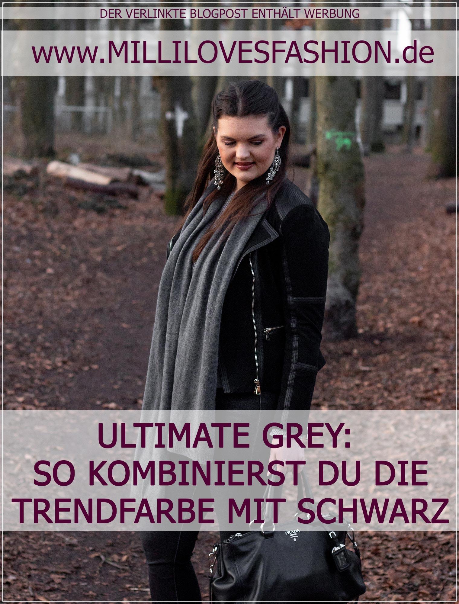 Pantonefarbe Ultimate Grey mit schwarz kombiniert