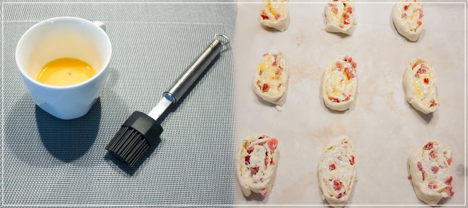 Rezept für Blätterteigschnecken mit Schinken und Käse