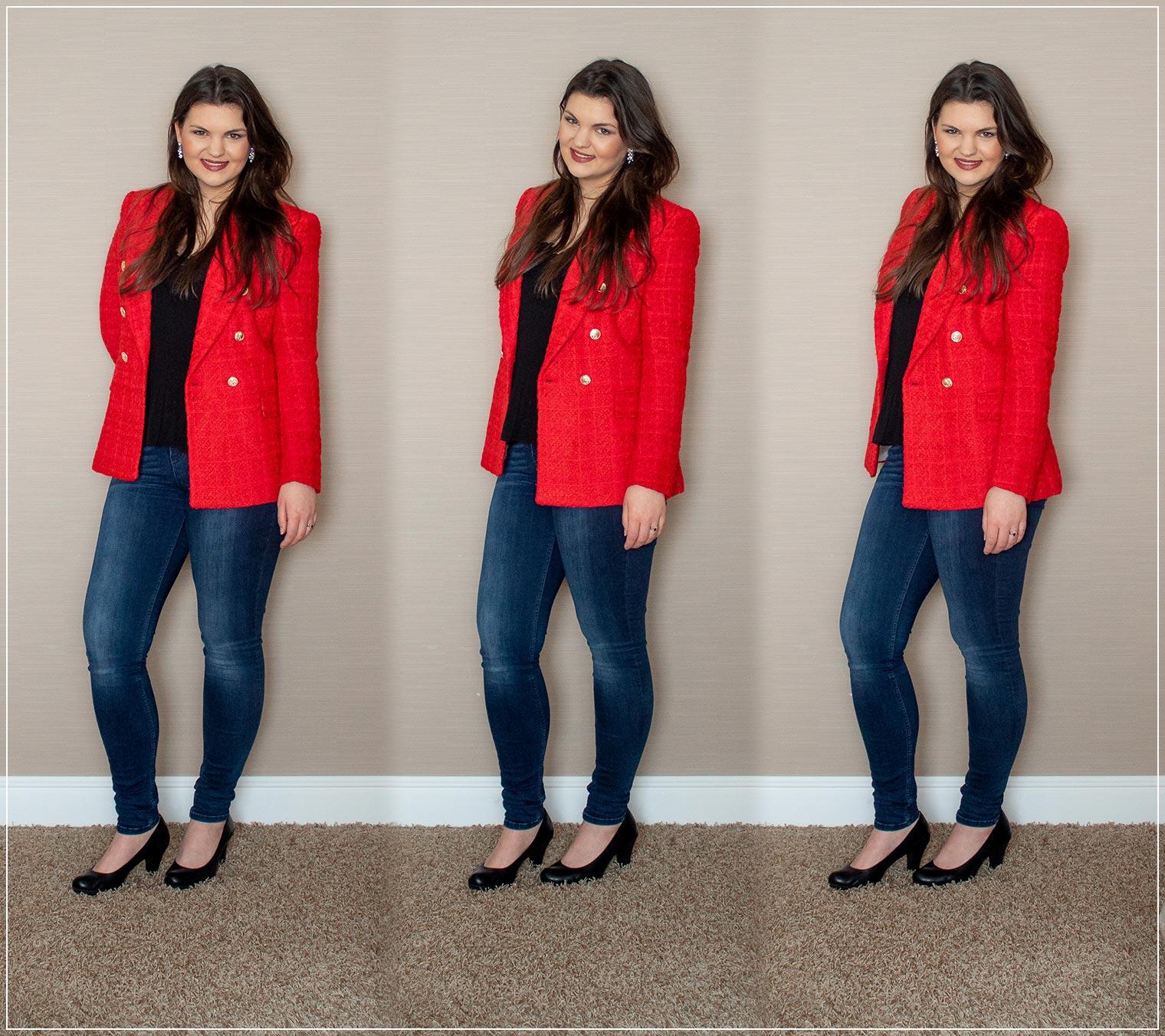 Oversized Blazer in Tweedoptik mit Jeans kombiniert