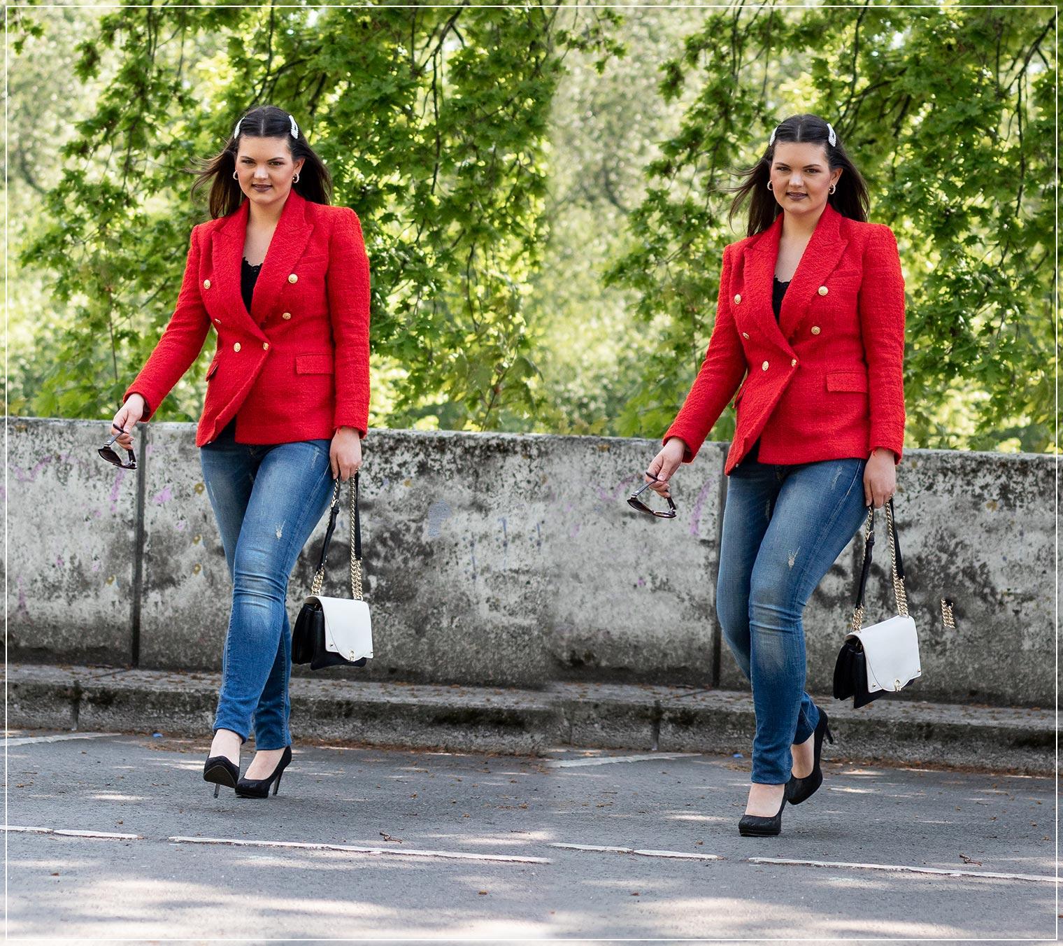 eleganter Look aus Jeans und Blazer
