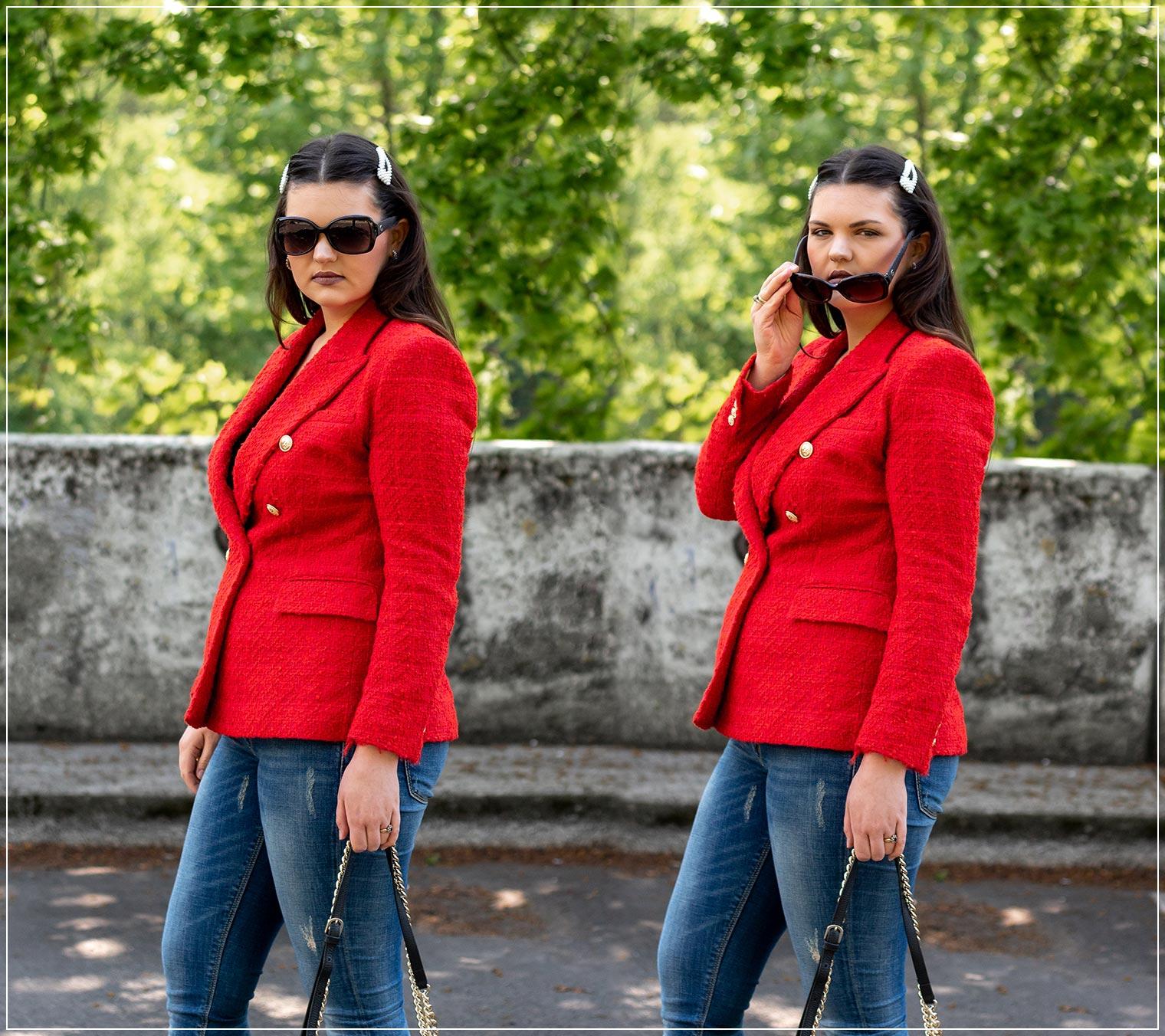Tweedblazer mit Denim zu einem eleganten Look kombinieren