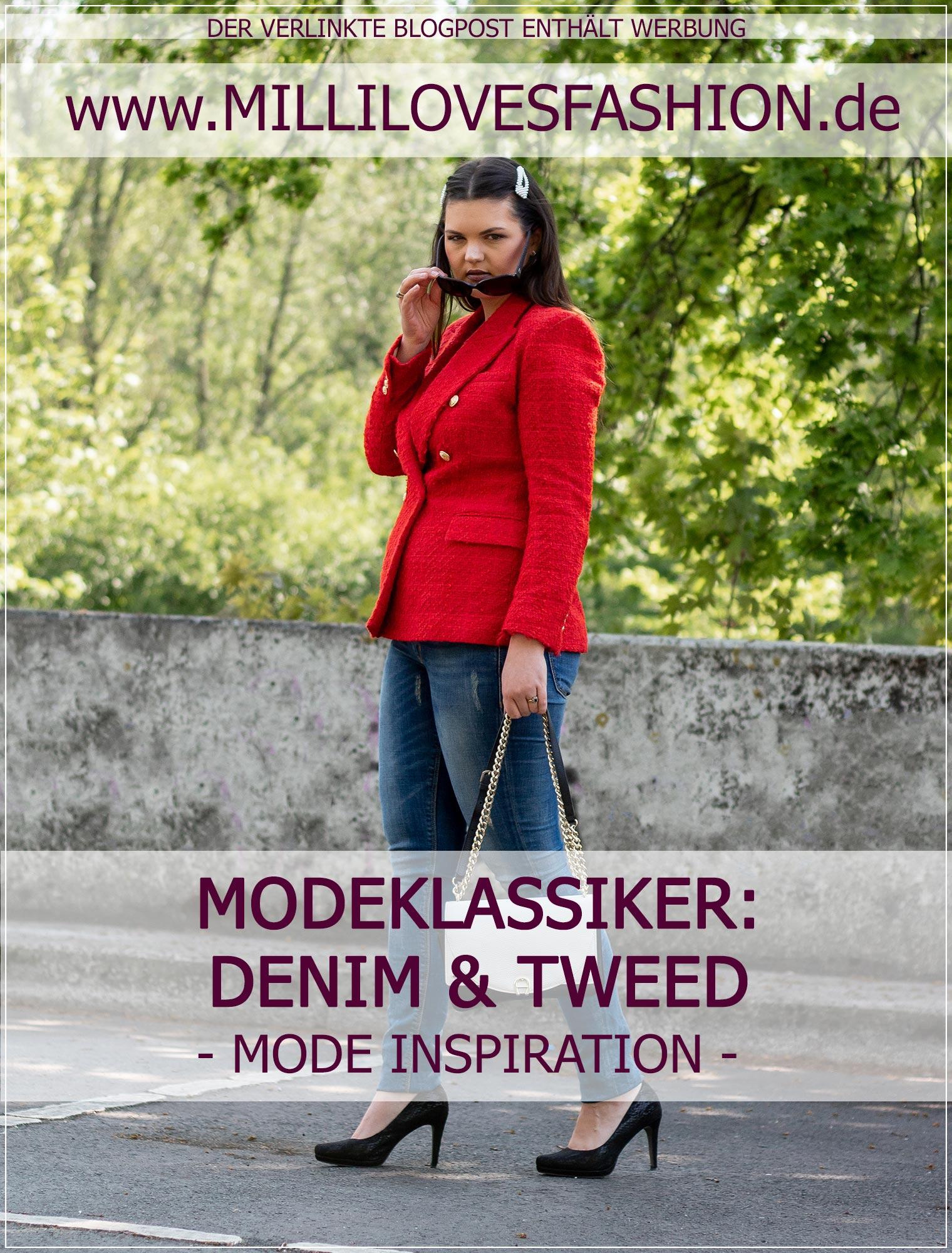 Moderne Eleganz aus Jeans und Blazer aus Tweed