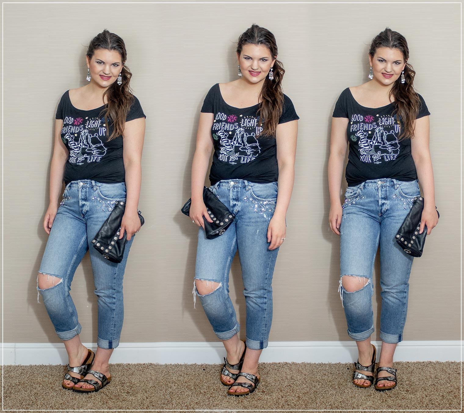 Boyfriend Jeans und Disney-T-Shirt als sportlicher Sommerlook