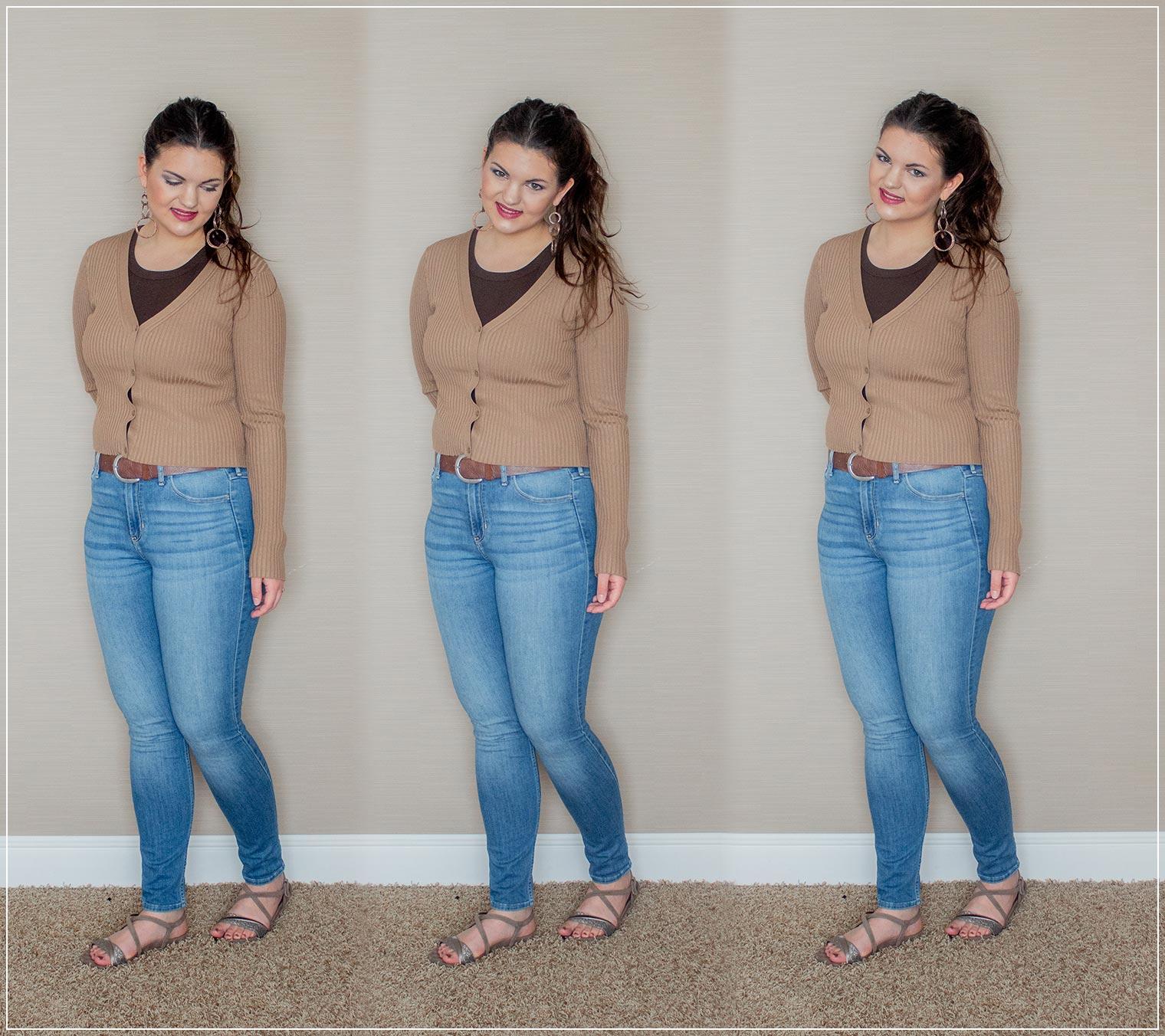 entspannter Look aus Jeans, sommerlichen Schuhen und Top mit Strickjacke