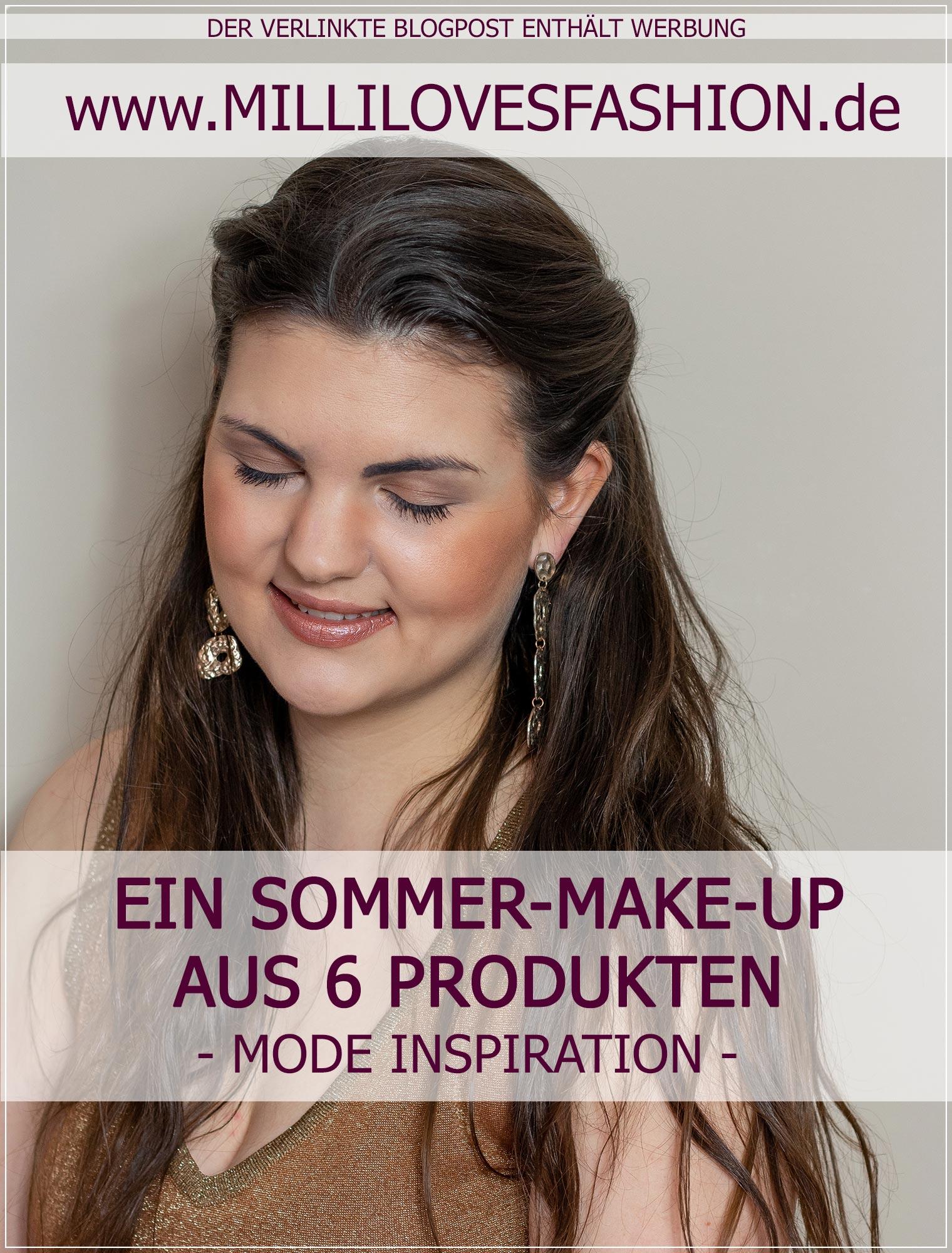 Sommer-Make-Up aus sechs verschiedenen Make-Up-Produkten