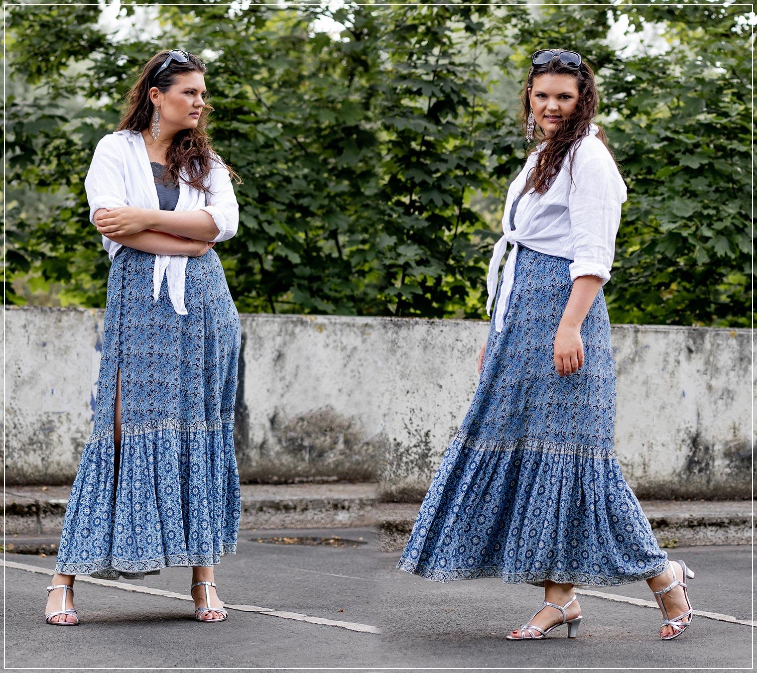 Boho-Look im Sommer mit weißem Kragen und Maxirock