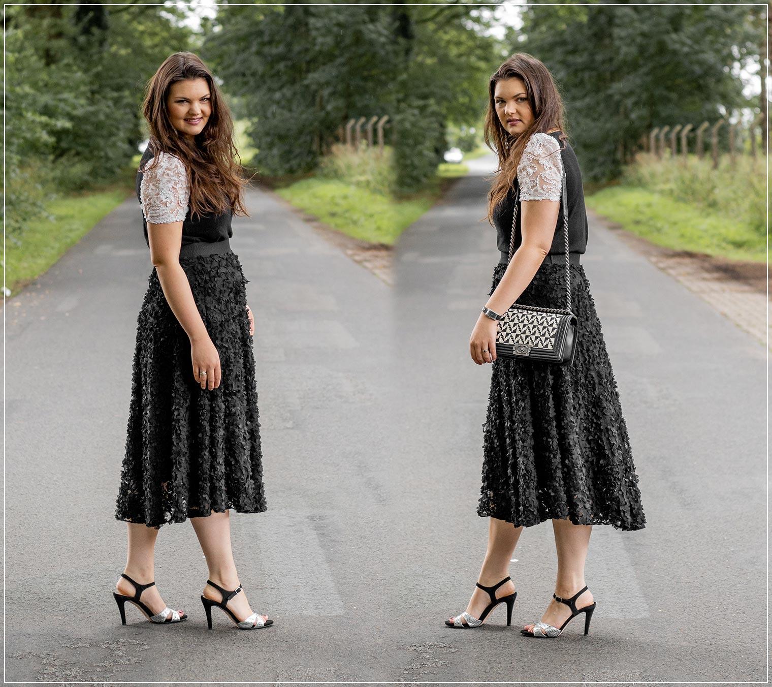 eleganter Sommerlook mit Midi-Rock im Black and White Style zur liebsten Handtasche