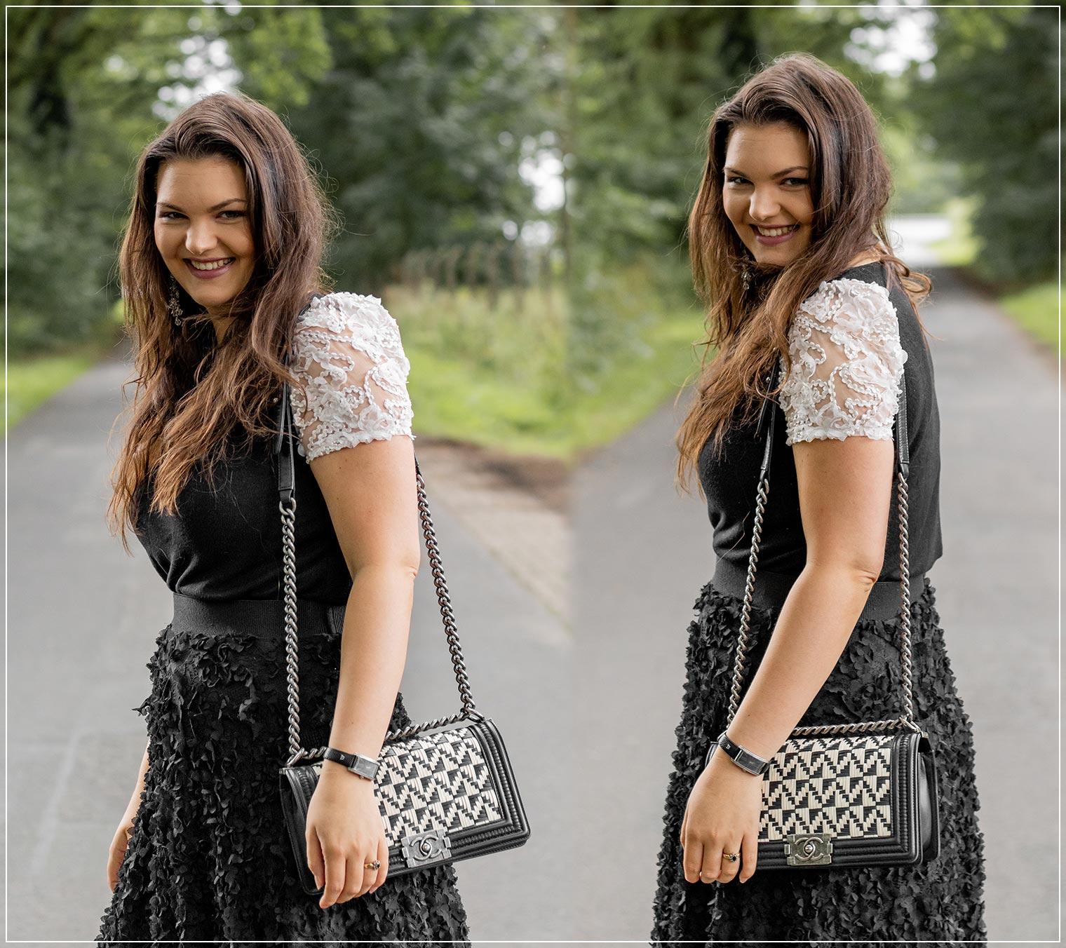 eleganter Black and White Sommerlook zu liebsten Handtasche