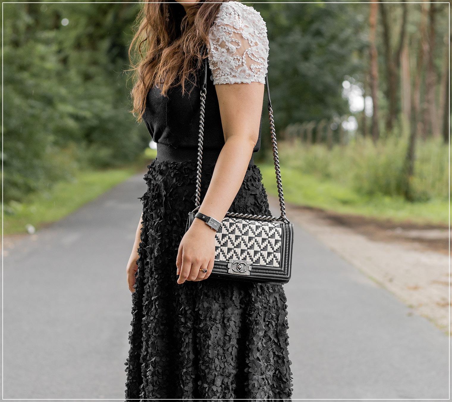 eleganter Look mit 3D Spitze zur liebsten Handtasche