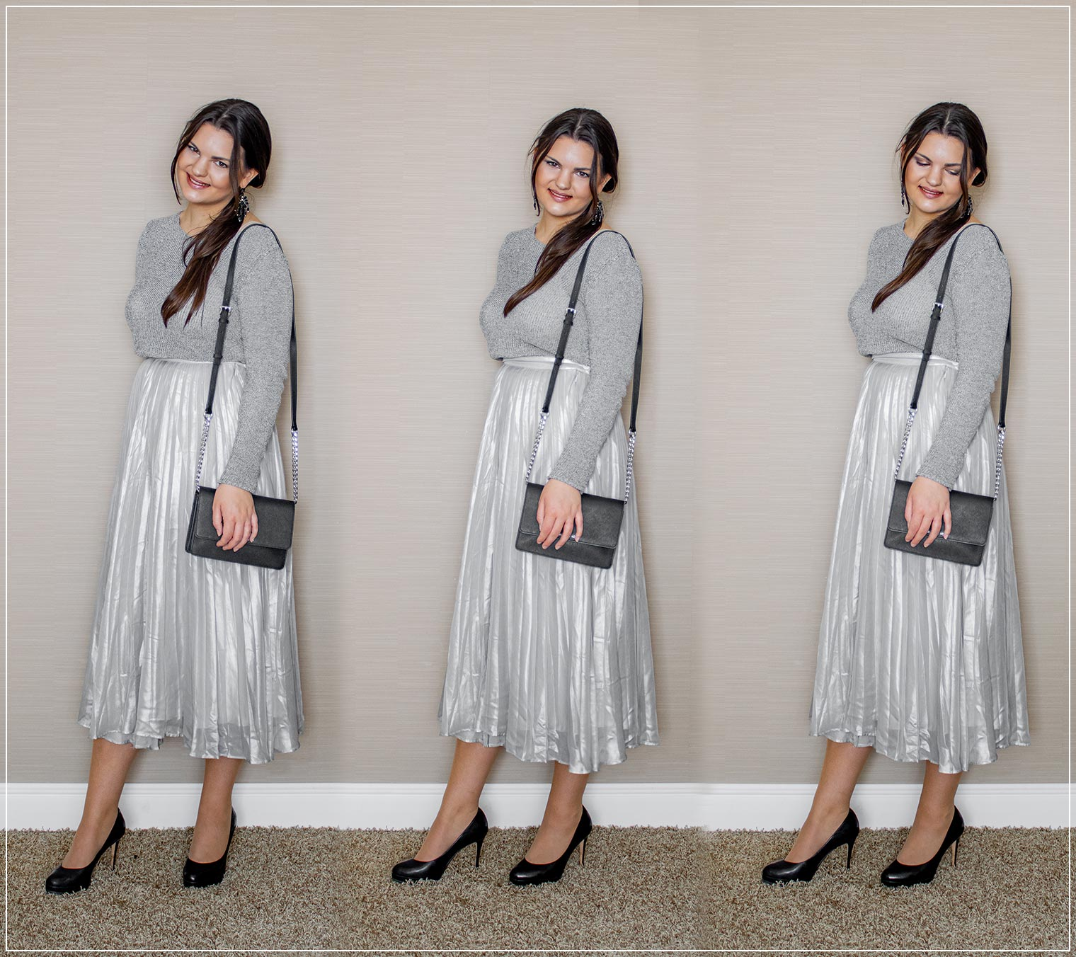 Monochromes Outfit für den Herbst aus Midirock und Strickpullover
