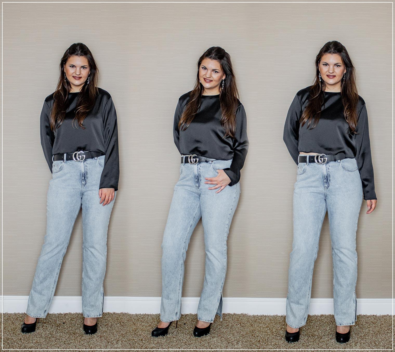 Herbstoutfit aus Wideleg Jeans und Crop-Bluse