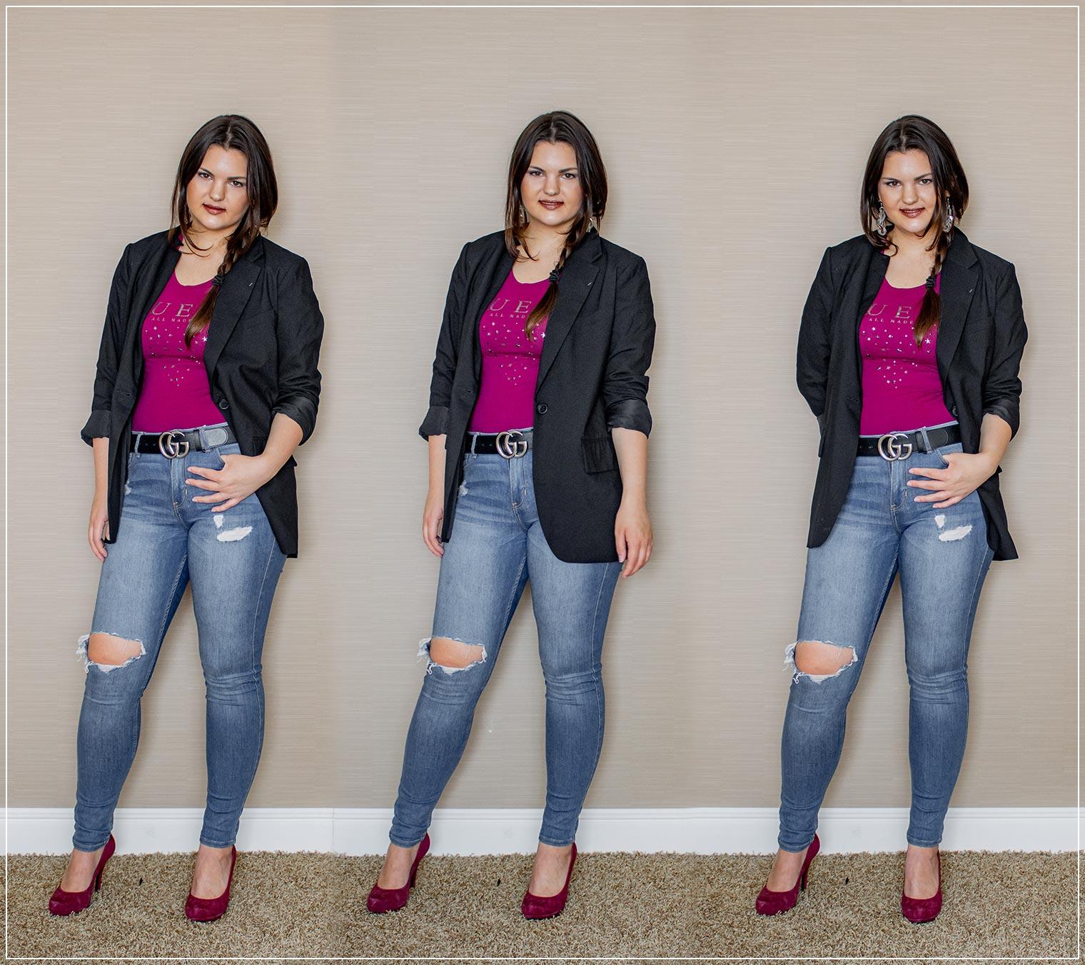 Herbstoutfit aus Oversized Blazer und Jeans