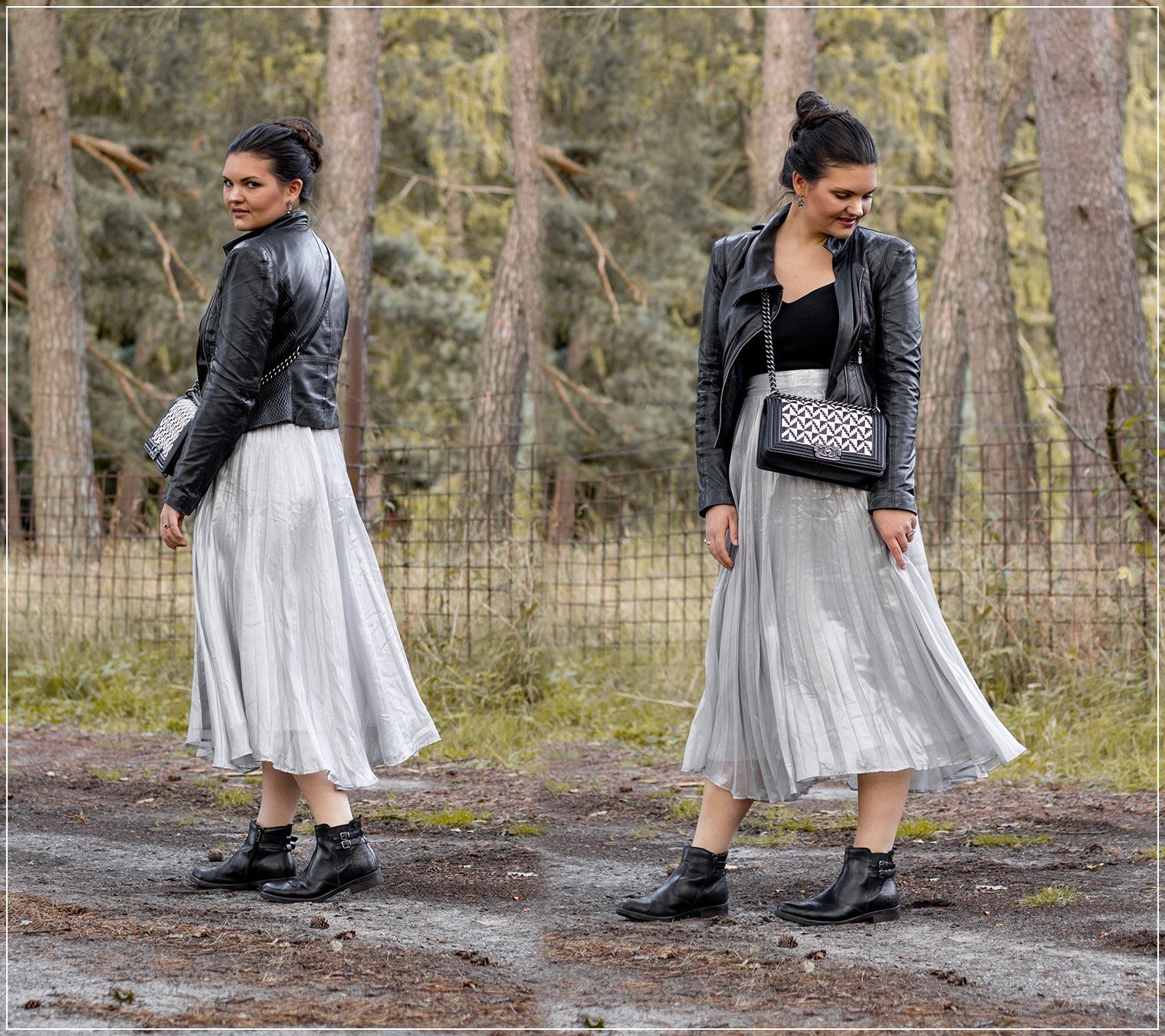 Herbstliches Outfit mit Lederjacke, Strickpullover und Chiffonrock kombinieren