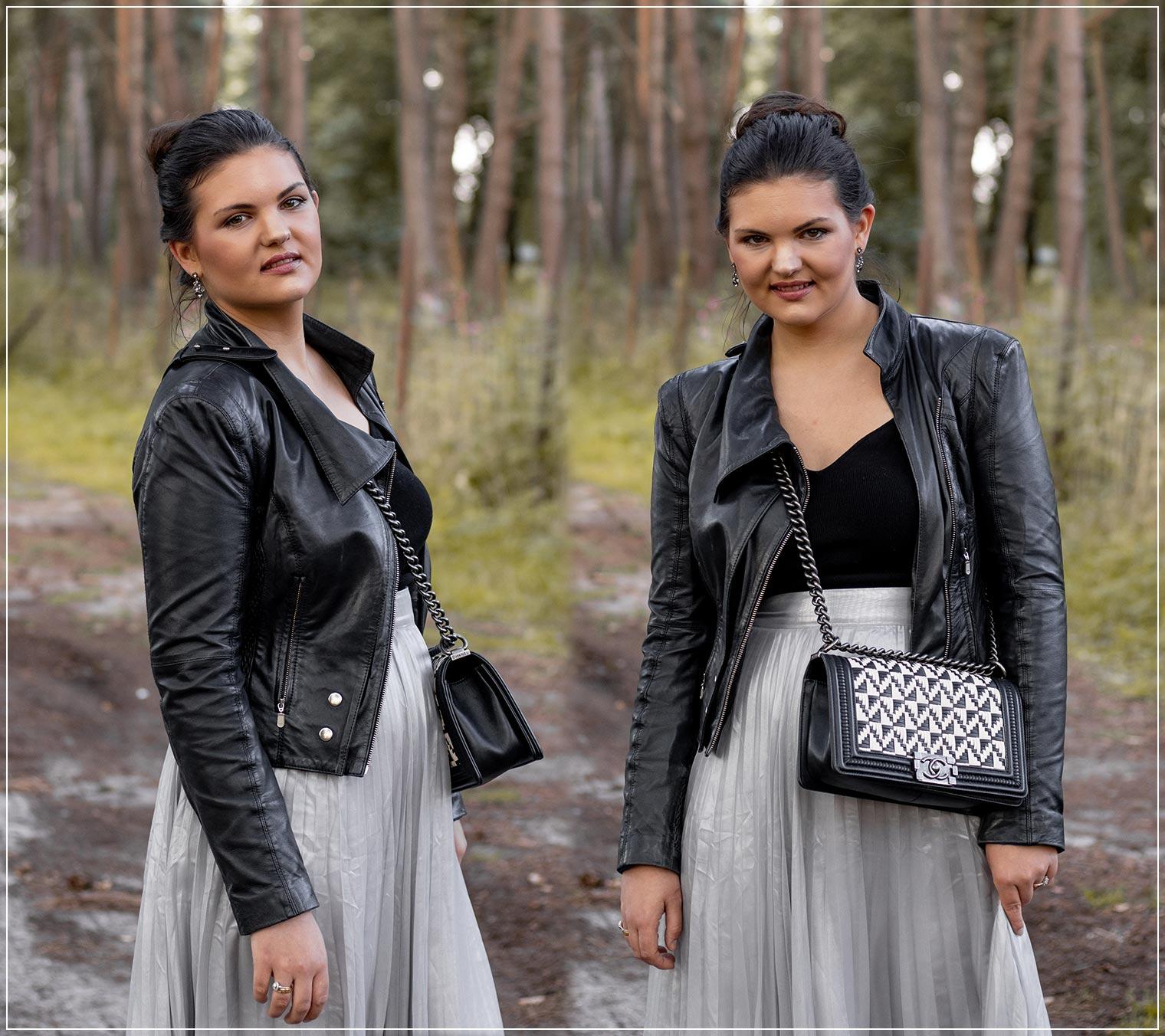 Herbstliches Outfit mit Lederjacke, Strickpullover und Chiffonrock