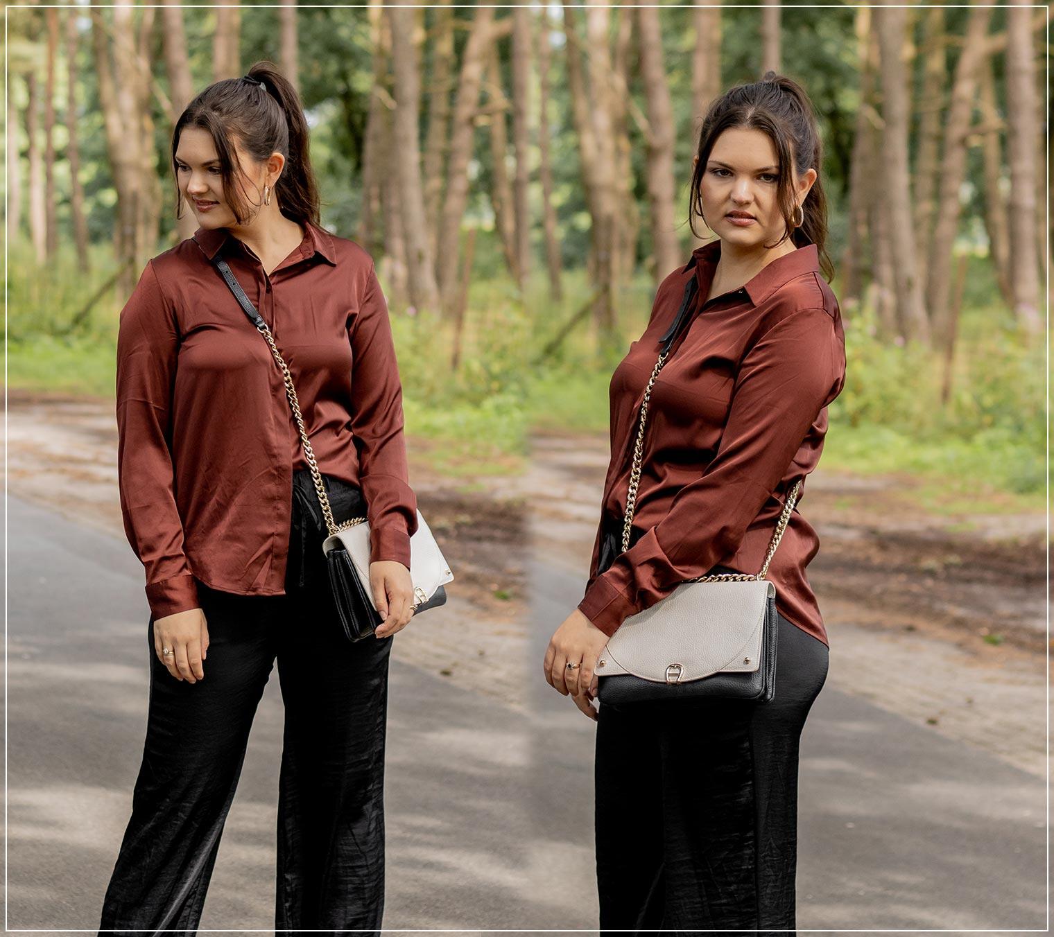So stylst du eine Satin-Hose als elegantes Herbst Outfit